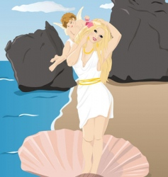 aphrodite and cupid vector image
