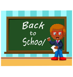 Back to school cute schoolchild at the blackboard vector