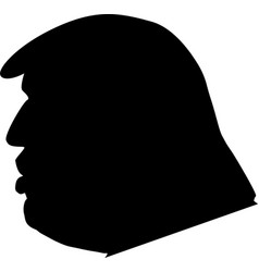 black silhouette side view donald trump vector image