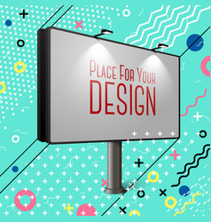 bright billboard abstract memphis style eps vector image