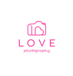 camera and heart symbol for love photography logo vector image