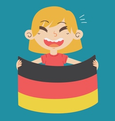Cartoon Girl Holding a Germany Flag vector image