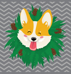 cartoon portrait of a dog with a wreath christmas vector image