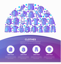 clothing concept in half circle with line icons vector image