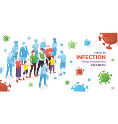covid19-2019 banner or sars-cov-2 infection poster vector image
