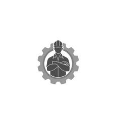 Creative engineer worker gear logo design vector