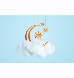 crescent moon golden stars and white clouds 3d vector image