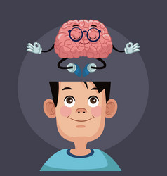 Cute brain cartoon in kid head vector