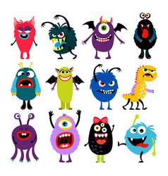 Cute cartoon mosters collection vector