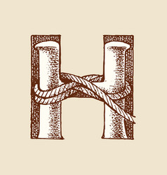 Decorative capital letter h marine ancient style vector