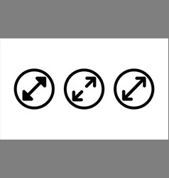 Diameter icon set in black on isolated white vector