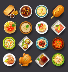 Dishes icon set-3 vector