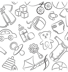 Doodle baby seamless pattern vector