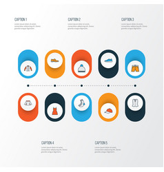 Dress colorful outline icons set collection of vector