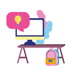 Education online computer on desk backpack class vector