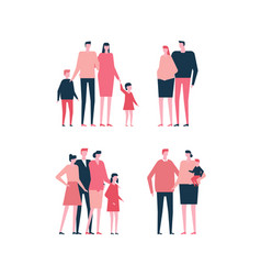 Families - flat design style set of isolated vector