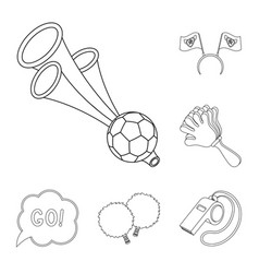 Fan and attributes outline icons in set collection vector