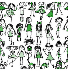 fashion girls seamless pattern for your design vector image