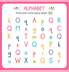 Find and circle every letter q worksheet vector