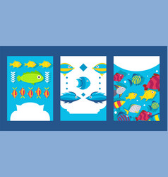 fish banners in flat style printable flyer vector image