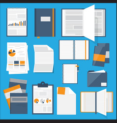 flat notebooks papers books collection for web vector image