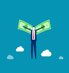 flying with money wings business financial vector image