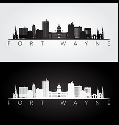 Fort wayne usa skyline and landmarks silhouette vector