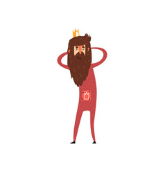 funny bearded king character holding his head vector image