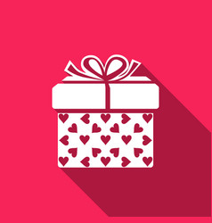 gift box and heart icon isolated with long shadow vector image