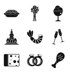 Glad icons set simple style vector