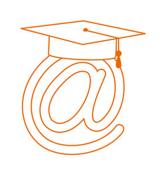 Graduation hat virtual study home education line vector