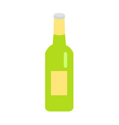 green glass beer bottle with yellow label icon vector image