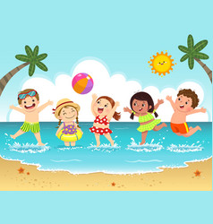 group happy kids having fun on beach vector image