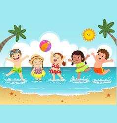 group happy kids having fun on beach vector image