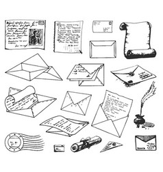 Hand drawn sketch of paper letter vector