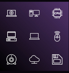 hardware icons line style set with internet vector image