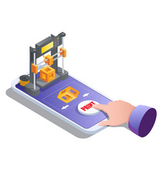 Isometric 3d printer building cube on mobile vector