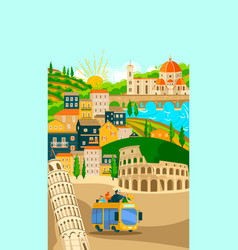 Italian towns bus tours poster tourism on vector