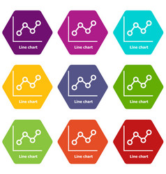 Line chart icons set 9 vector