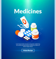 medicines poster of isometric color design vector image