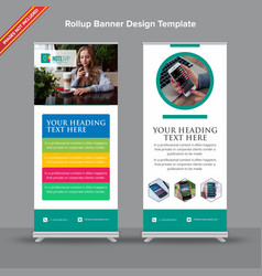 Modern teal and white app rollup banner vector