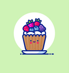 Muffin cake whipped cream forest berries vector