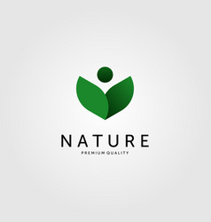 nature leaf logo human people green color icon vector image