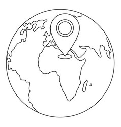 navigation earth icon outline style vector image