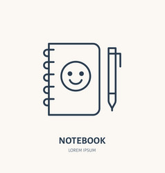 notebook flat line icon branding stationery sign vector image