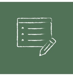 Notepad and pencil icon drawn in chalk vector image
