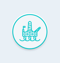 Oil drilling platform line icon offshore oil rig vector