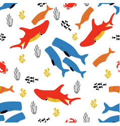 Pattern with fish and coral vector