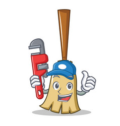 plumber broom character cartoon style vector image