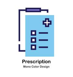 Prescription mono color icon vector